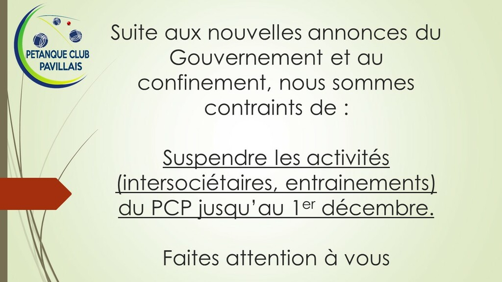 Fermeture du PCP pendant le confinement